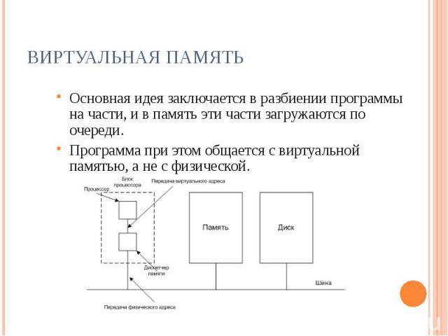 Виртуальная память Основная идея заключается в разбиении программы на части, и в память эти части загружаются по очереди.Программа при этом общается с виртуальной памятью, а не с физической.