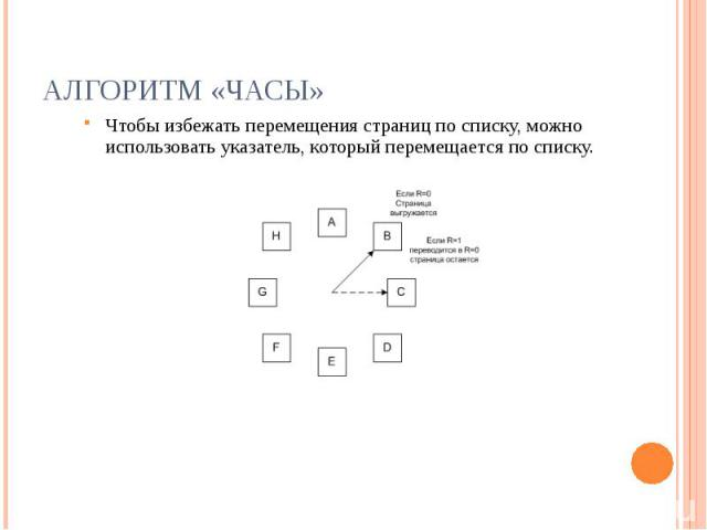 Алгоритм «Часы» Чтобы избежать перемещения страниц по списку, можно использовать указатель, который перемещается по списку.
