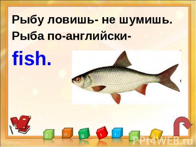 Рыбу ловишь- не шумишь.Рыба по-английски-fish.