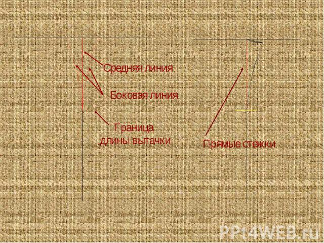 Средняя линияБоковая линияГраница длины вытачкиПрямые стежки