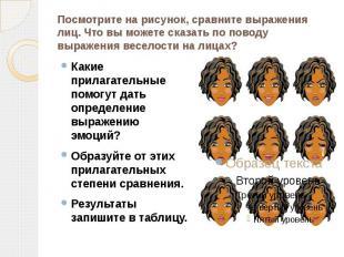 Посмотрите на рисунок, сравните выражения лиц. Что вы можете сказать по поводу в