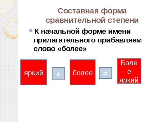 Составная форма сравнительной степени К начальной форме имени прилагательного прибавляем слово «более»