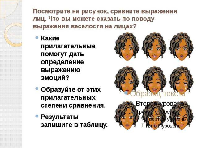 Посмотрите на рисунок, сравните выражения лиц. Что вы можете сказать по поводу выражения веселости на лицах? Какие прилагательные помогут дать определение выражению эмоций?Образуйте от этих прилагательных степени сравнения.Результаты запишите в таблицу.