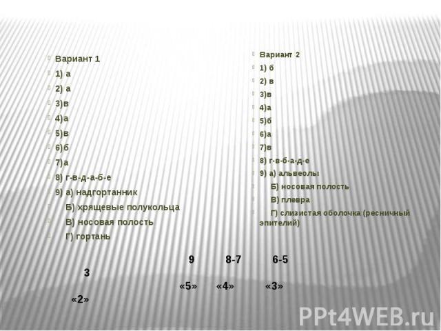 Вариант 11) а2) а3)в4)а5)в6)б7)а8) г-в-д-а-б-е9) а) надгортанник  Б) хрящевые полукольца  В) носовая полость  Г) гортаньВариант 21) б2) в3)в4)а5)б6)а7)в8) г-в-б-а-д-е9) а) альвеолы  Б) носовая полость  В) плевра  Г) слизистая оболочка…