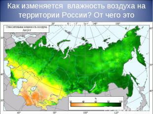 Как изменяется влажность воздуха на территории России? От чего это зависит?