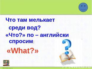 Что там мелькает среди вод?«Что?» по – английски спросим: «What?»