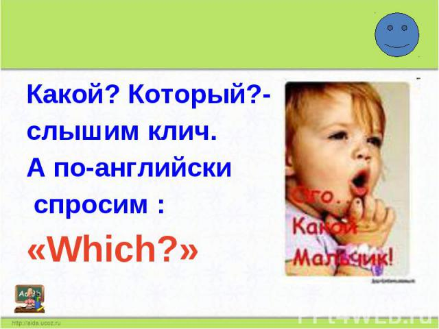 Какой? Который?-слышим клич.А по-английски спросим :«Which?»