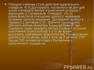 Поводом к мятежу стали действия карательного отряда кн. Ю.В.Долгорукого, посланн