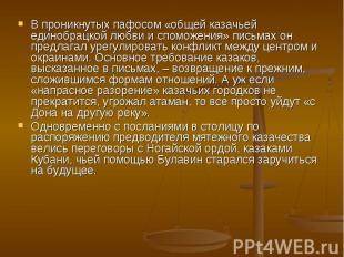 В проникнутых пафосом «общей казачьей единобрацкой любви и споможения» письмах о
