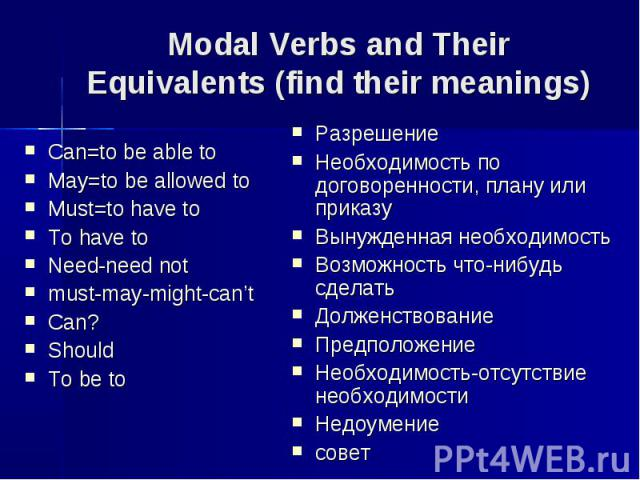 Modal Verbs and Their Equivalents (find their meanings) Can=to be able toMay=to be allowed toMust=to have toTo have toNeed-need notmust-may-might-can'tCan?ShouldTo be toРазрешениеНеобходимость по договоренности, плану или приказуВынужденная необходи…