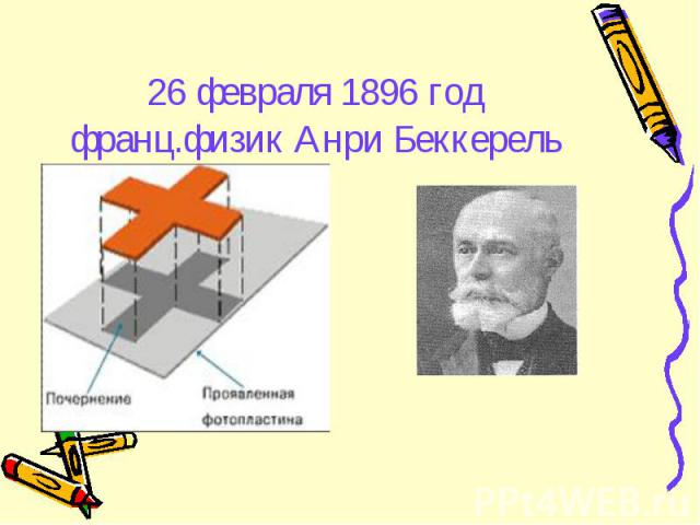 26 февраля 1896 годфранц.физик Анри Беккерель