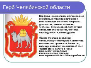 Герб Челябинской области Верблюд – выносливое и благородное животное, внушающее