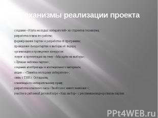 Механизмы реализации проекта создание «Клуба молодых избирателей» из студентов т