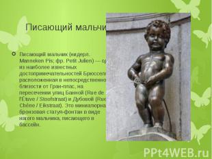Писающий мальчик Писающий мальчик (нидерл. Manneken Pis; фр. Petit Julien) — одн