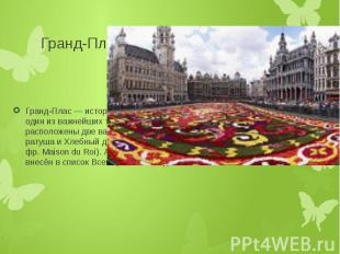 Гранд-Плас Гранд-Плас — историческая площадь в центре Брюсселя, один из важнейши