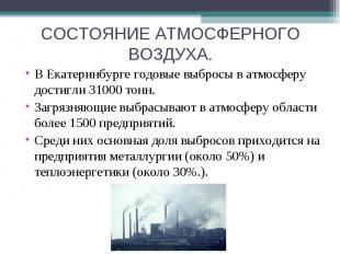 СОСТОЯНИЕ АТМОСФЕРНОГО ВОЗДУХА. В Екатеринбурге годовые выбросы в атмосферу дост