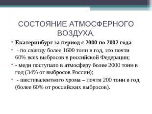 СОСТОЯНИЕ АТМОСФЕРНОГО ВОЗДУХА. Екатеринбург за период с 2000 по 2002 года - по