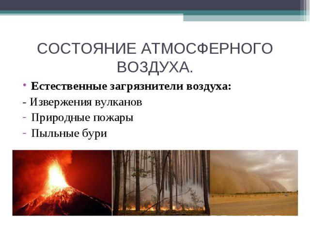 СОСТОЯНИЕ АТМОСФЕРНОГО ВОЗДУХА. Естественные загрязнители воздуха:- Извержения вулкановПриродные пожарыПыльные бури
