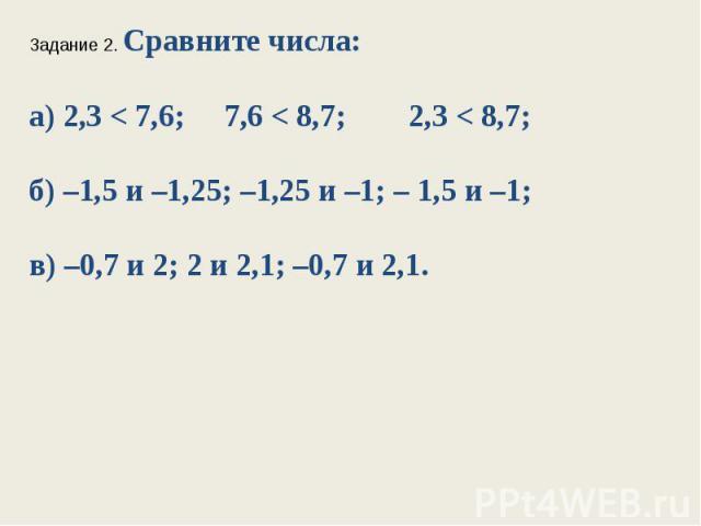 Задание 2. Сравните числа:а) 2,3 < 7,6; 7,6 < 8,7; 2,3 < 8,7;б) –1,5 и –1,25; –1,25 и –1; – 1,5 и –1;в) –0,7 и 2; 2 и 2,1; –0,7 и 2,1.