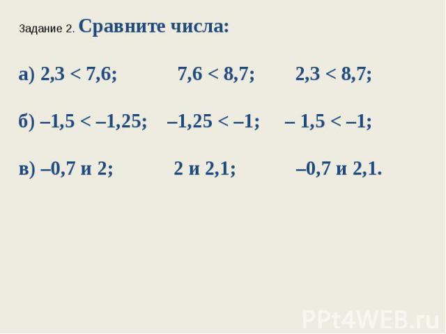 Задание 2. Сравните числа:а) 2,3 < 7,6; 7,6 < 8,7; 2,3 < 8,7;б) –1,5 < –1,25; –1,25 < –1; – 1,5 < –1;в) –0,7 и 2; 2 и 2,1; –0,7 и 2,1.