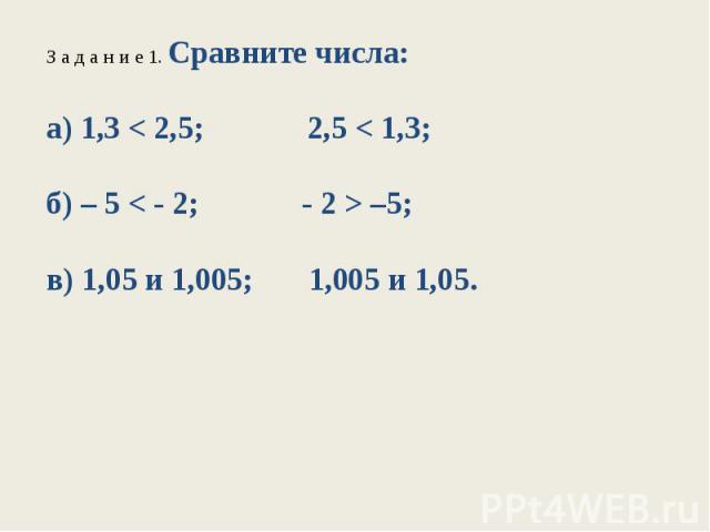 З а д а н и е 1. Сравните числа:а) 1,3 < 2,5; 2,5 < 1,3;б) – 5 < - 2; - 2 > –5;в) 1,05 и 1,005; 1,005 и 1,05.