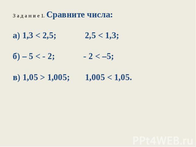 З а д а н и е 1. Сравните числа:а) 1,3 < 2,5; 2,5 < 1,3;б) – 5 < - 2; - 2 < –5;в) 1,05 > 1,005; 1,005 < 1,05.