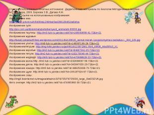 Список использованных печатных источников: Дидактические материалы по биологии:М