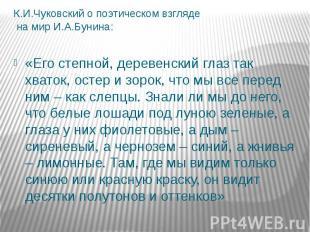 К.И.Чуковский о поэтическом взгляде на мир И.А.Бунина: «Его степной, деревенский
