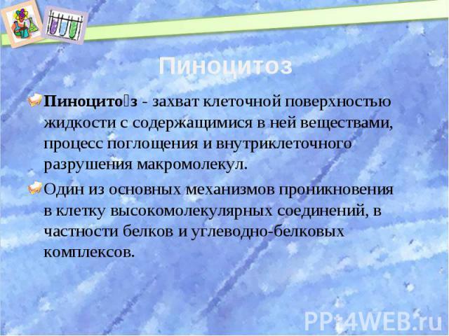 Пиноцитоз Пиноцитоз- захват клеточной поверхностью жидкости с содержащимися в ней веществами, процесс поглощения и внутриклеточного разрушения макромолекул.Один из основных механизмов проникновения вклеткувысокомолекулярных соединений, в частност…