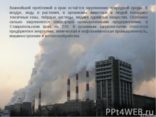 Важнейшей проблемой в крае остаётся загрязнение природной среды. В воздух, воду, в растения, в организмы животных и людей попадают токсичные газы, твёрдые частицы, жидкие ядовитые вещества. Особенно сильно загрязняется атмосфера промышленными предпр…