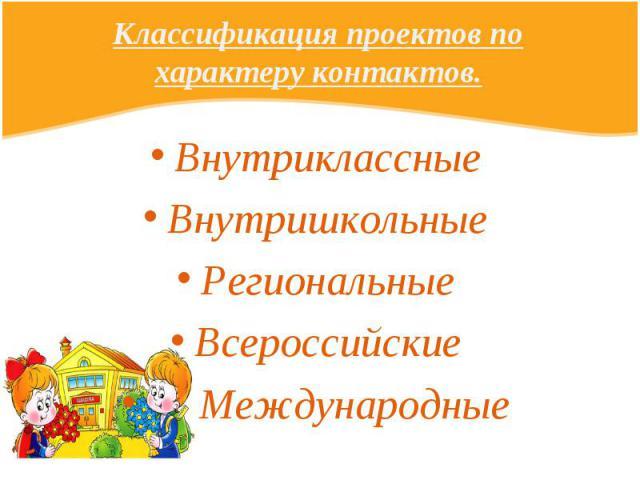 Классификация проектов по характеру контактов. ВнутриклассныеВнутришкольныеРегиональныеВсероссийские Международные