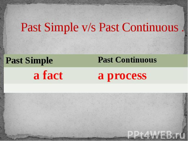 Past Simple v/s Past Continuous .