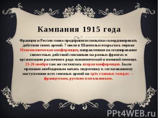 Кампания 1915 года Франция и Россия снова предприняли попытки скоординировать де