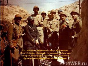Русский экспедиционный корпус во Франции. Лето 1916 года, Шампань. Начальник 1-й