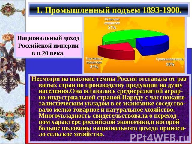 1. Промышленный подъем 1893-1900. Национальный доходРоссийской империив н.20 века.Несмотря на высокие темпы Россия отставала от раз витых стран по производству продукции на душу населения.Она оставалась среднеразвитой аграр-но-индустриальной страной…