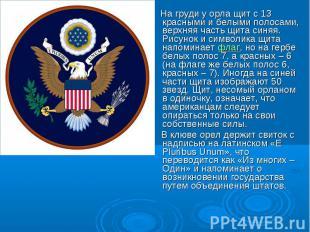 На груди у орла щит с 13 красными и белыми полосами, верхняя часть щита синяя. Р