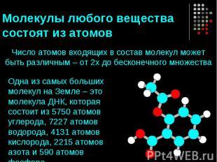 Молекулы любого вещества состоят из атомов Число атомов входящих в состав молеку