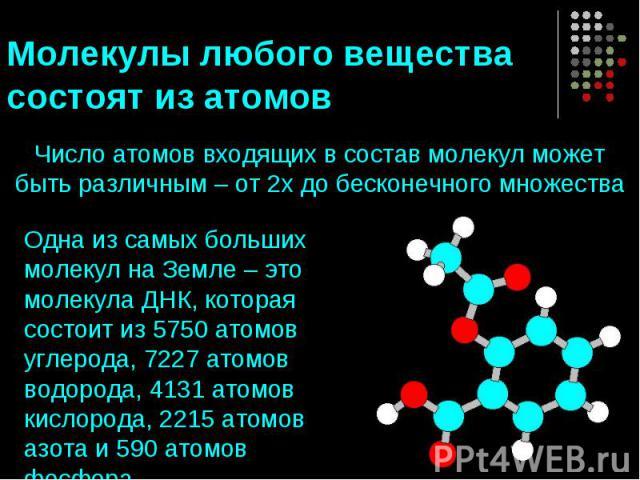 Молекулы любого вещества состоят из атомов Число атомов входящих в состав молекул может быть различным – от 2х до бесконечного множестваОдна из самых больших молекул на Земле – это молекула ДНК, которая состоит из 5750 атомов углерода, 7227 атомов в…