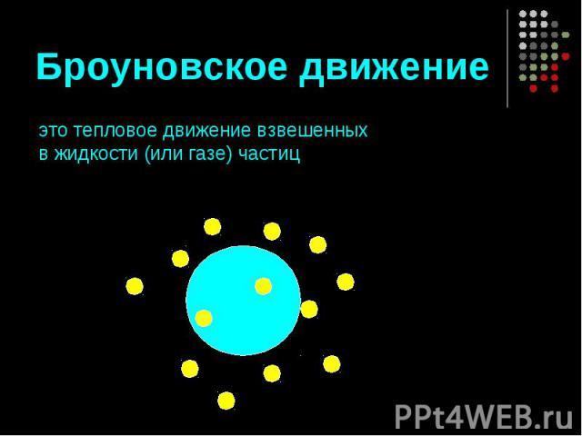 Броуновское движение это тепловое движение взвешенных в жидкости (или газе) частиц