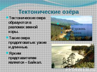Тектонические озёра Тектонические озера образуются в разломах земной коры.Такие