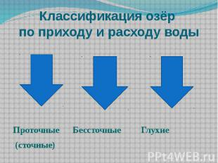 Классификация озёр по приходу и расходу воды