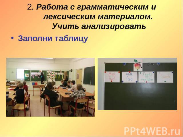 2. Работа с грамматическим и лексическим материалом. Учить анализировать Заполни таблицу