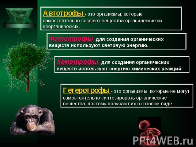 Автотрофы - это организмы, которые самостоятельно создают вещества органические из неорганических.Фототрофы для создания органических веществ используют световую энергию.Хемотрофы для создания органических веществ используют энергию химических реакц…