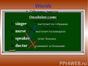 Words Отгадайте слово:singer выступает на собранияхnurse выступает на концертахs