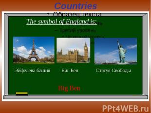 Countries The symbol of England is: