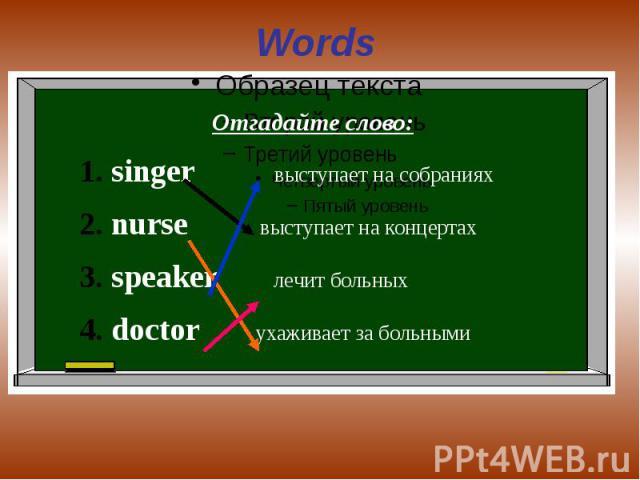 Words Отгадайте слово:singer выступает на собранияхnurse выступает на концертахspeaker лечит больныхdoctor ухаживает за больными