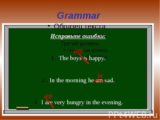Grammar Исправьте ошибки:The boys is happy.In the morning he am sad.I are very hungry in the evening.
