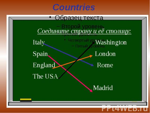 Countries Соедините страну и её столицу:Italy WashingtonSpain LondonEngland RomeThe USA Madrid