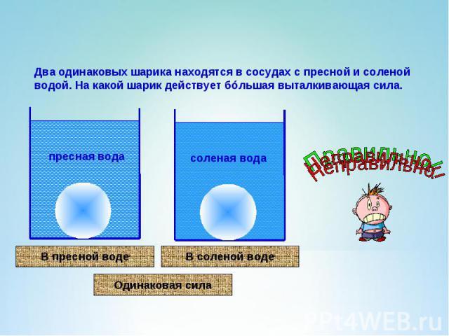Два одинаковых шарика находятся в сосудах с пресной и соленой водой. На какой шарик действует бóльшая выталкивающая сила.