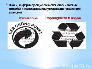 Знаки, информирующие об экологически чистых способах производства или утилизации